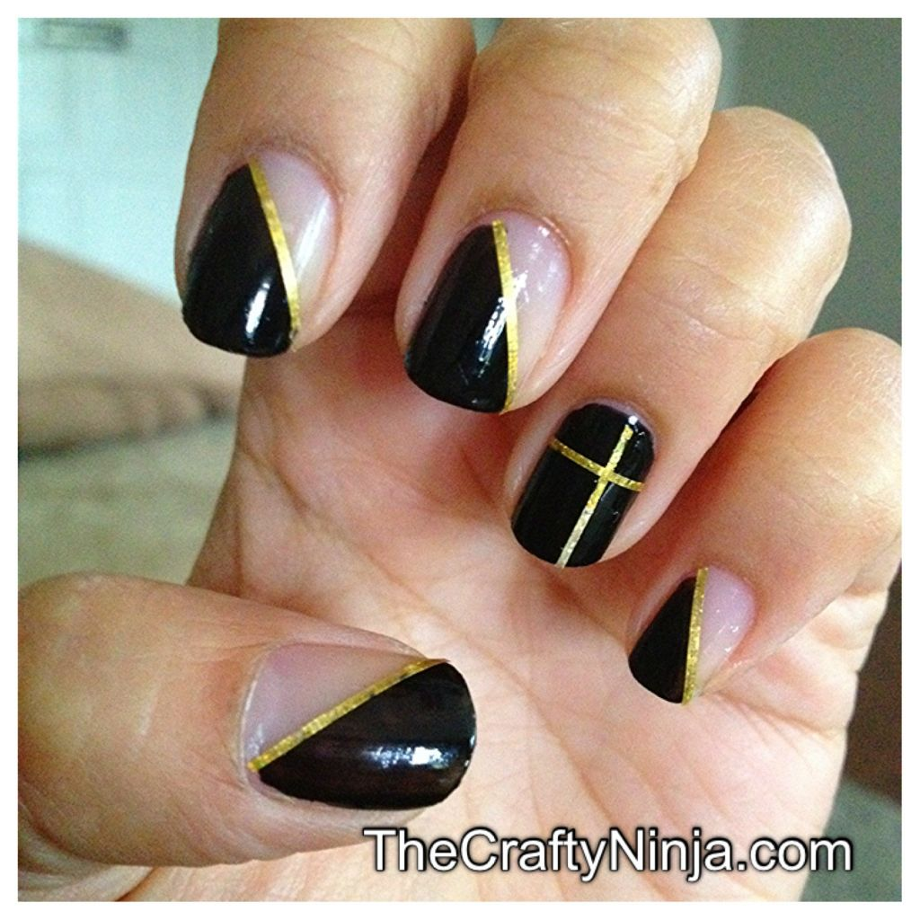 Easy Nail Art Using Tape: Nail Tape Black Mani