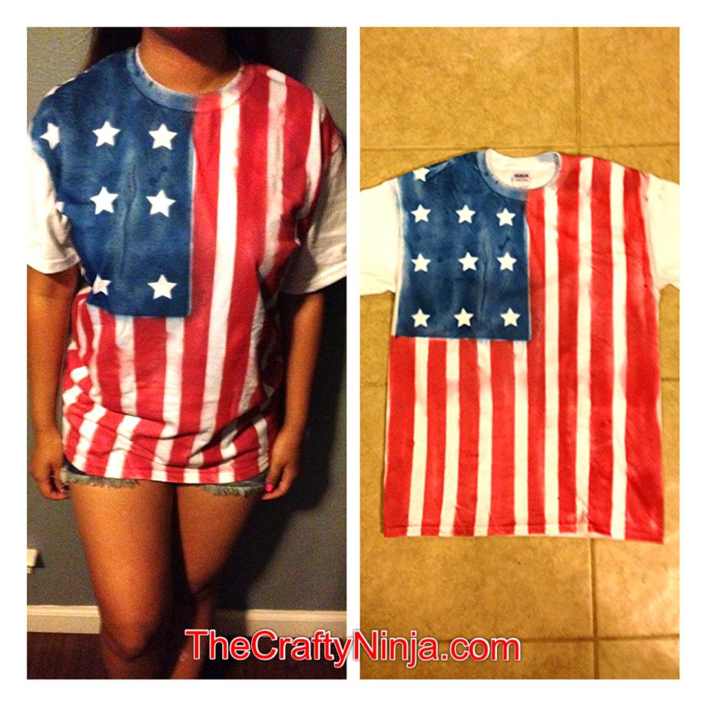 Diy american flag shirt the crafty ninja - How to get exterior paint out of clothes ...