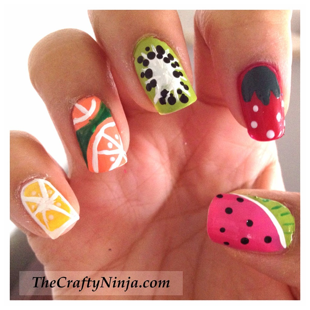 diy fruit nails 1024x1024 Fresh Fruit Nail Tutorial
