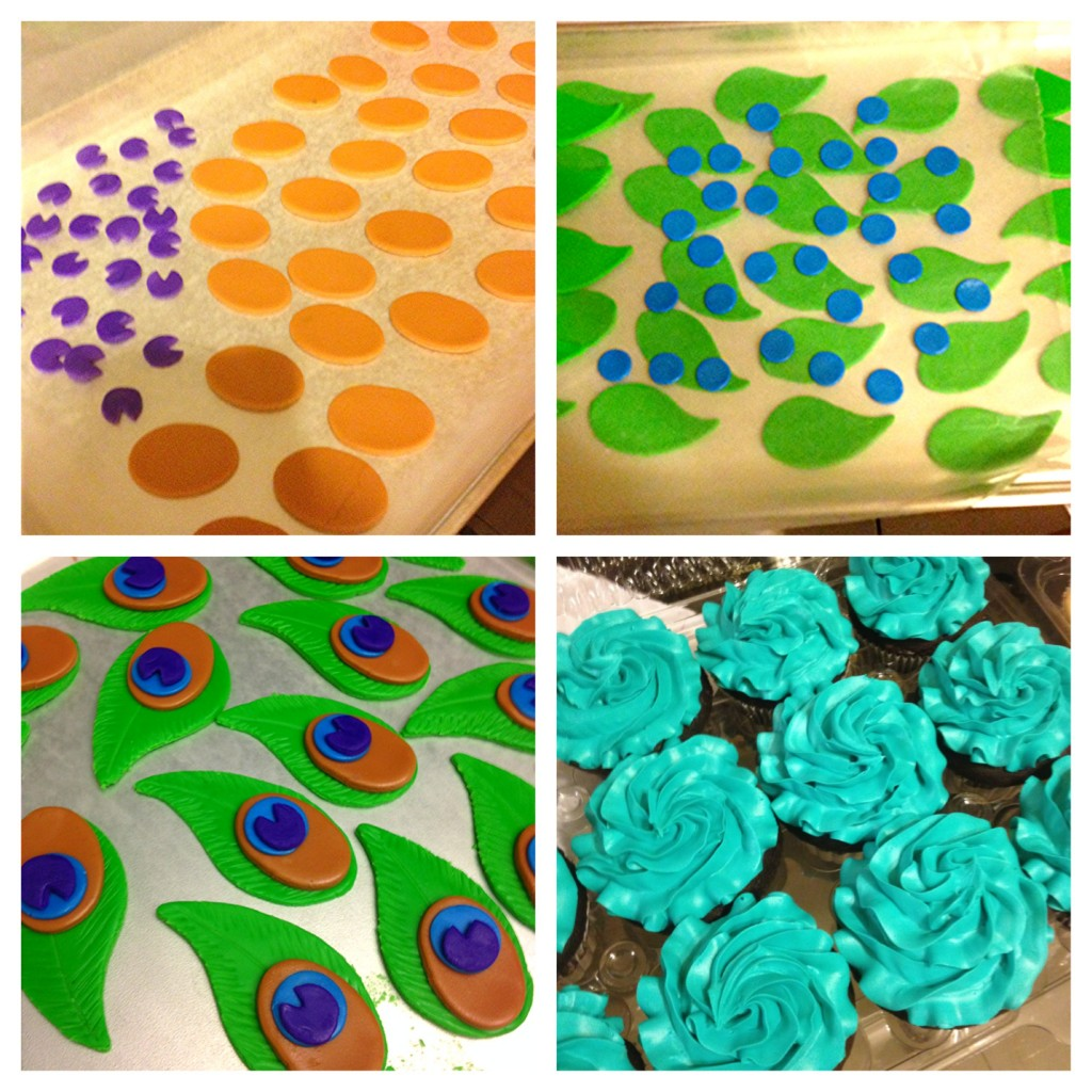 fondont shapes 1024x1024 Peacock Cupcakes