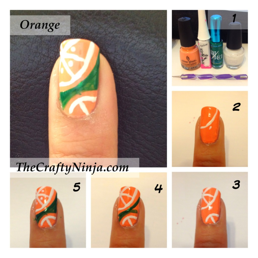 orange nail tutorial 1024x1024 Fresh Fruit Nail Tutorial