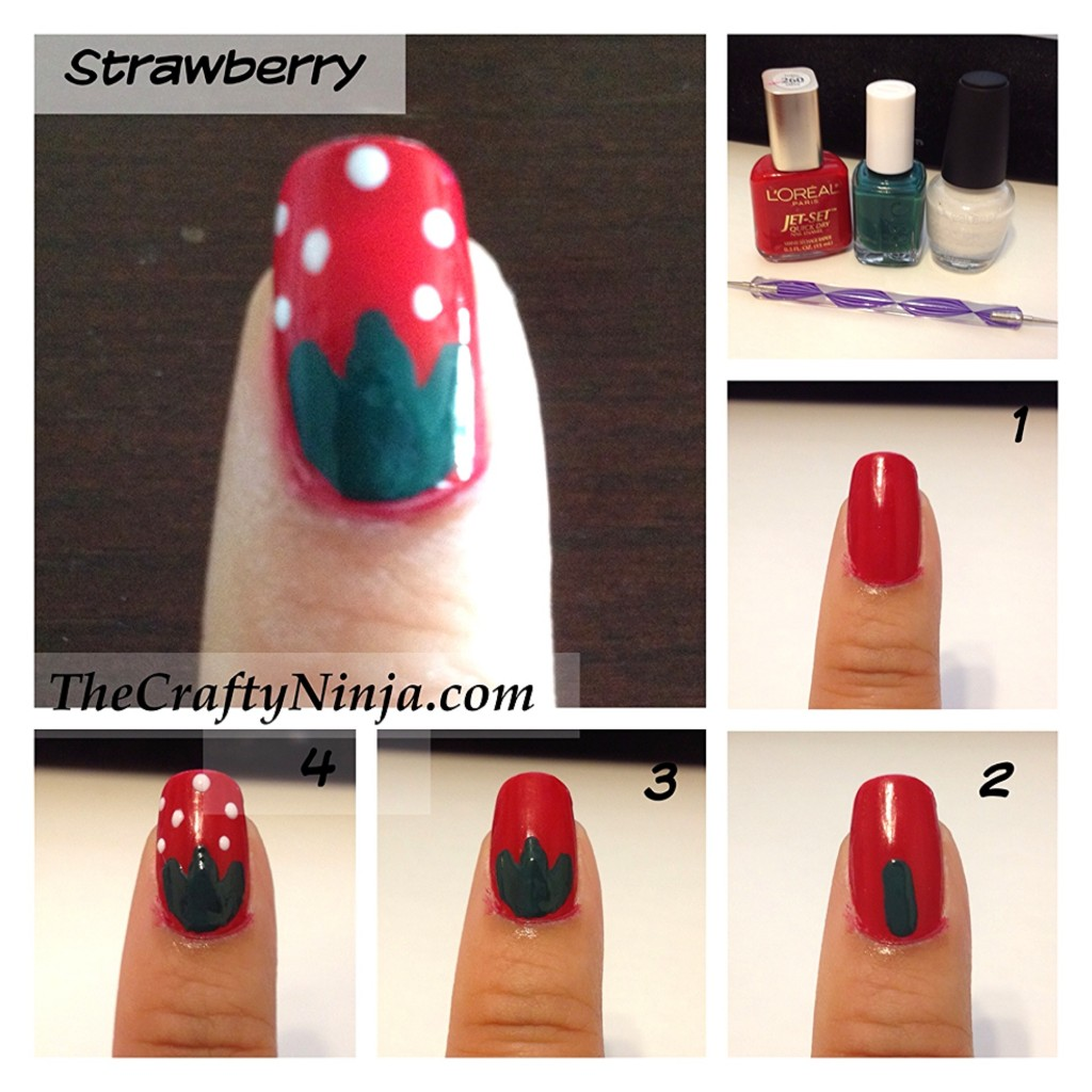 strawberry nail tutorial 1024x1024 Fresh Fruit Nail Tutorial