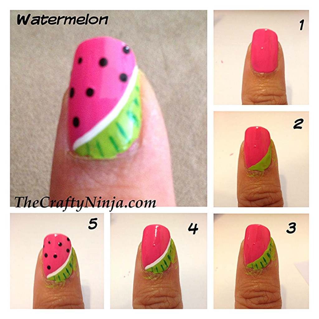 watermelon nail tutorial 1024x1024 Fresh Fruit Nail Tutorial