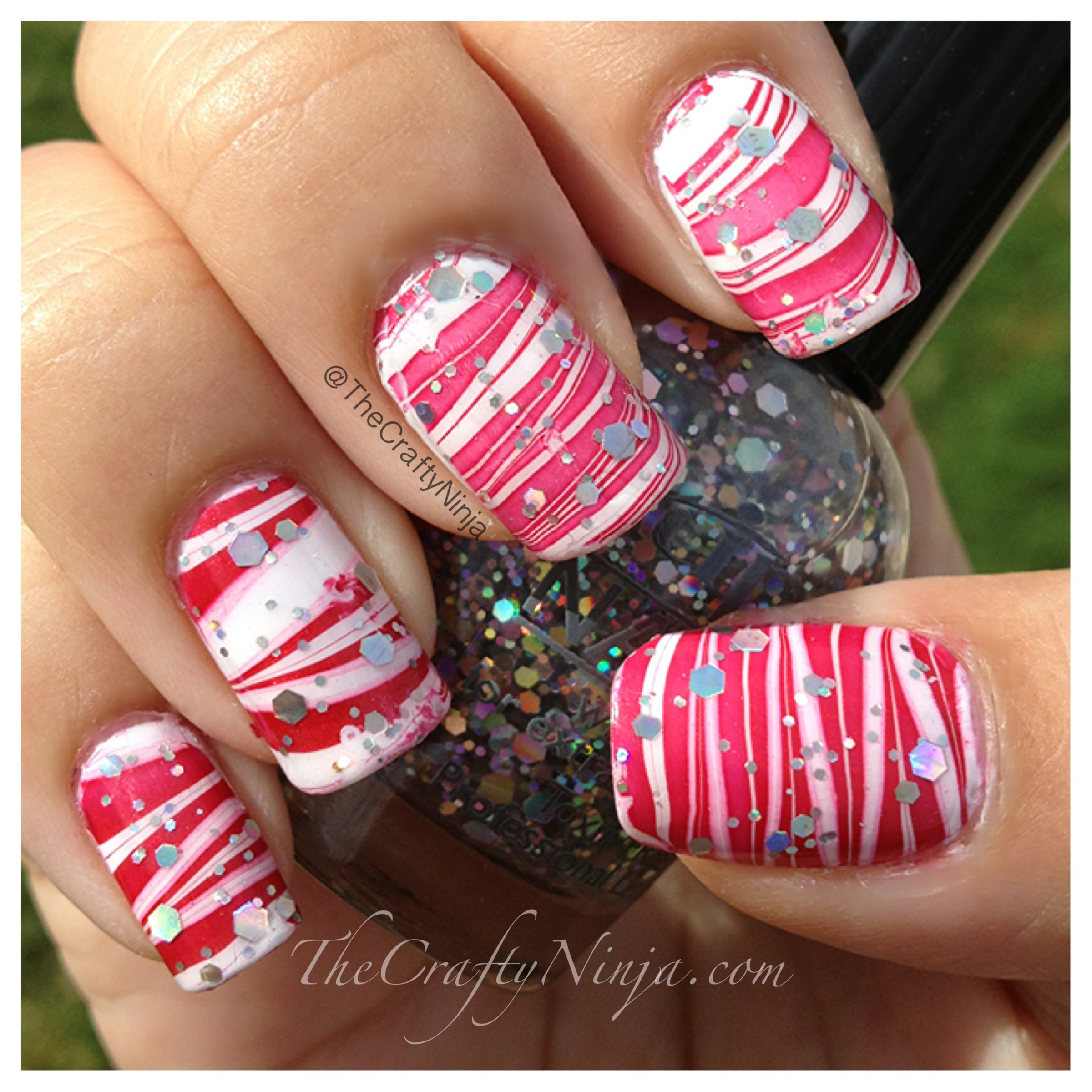 Candy Cane Water Marble Nails | The Crafty Ninja
