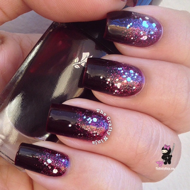 Fall Glitter Nail Designs: Fall Color Glitter Gradient Nails
