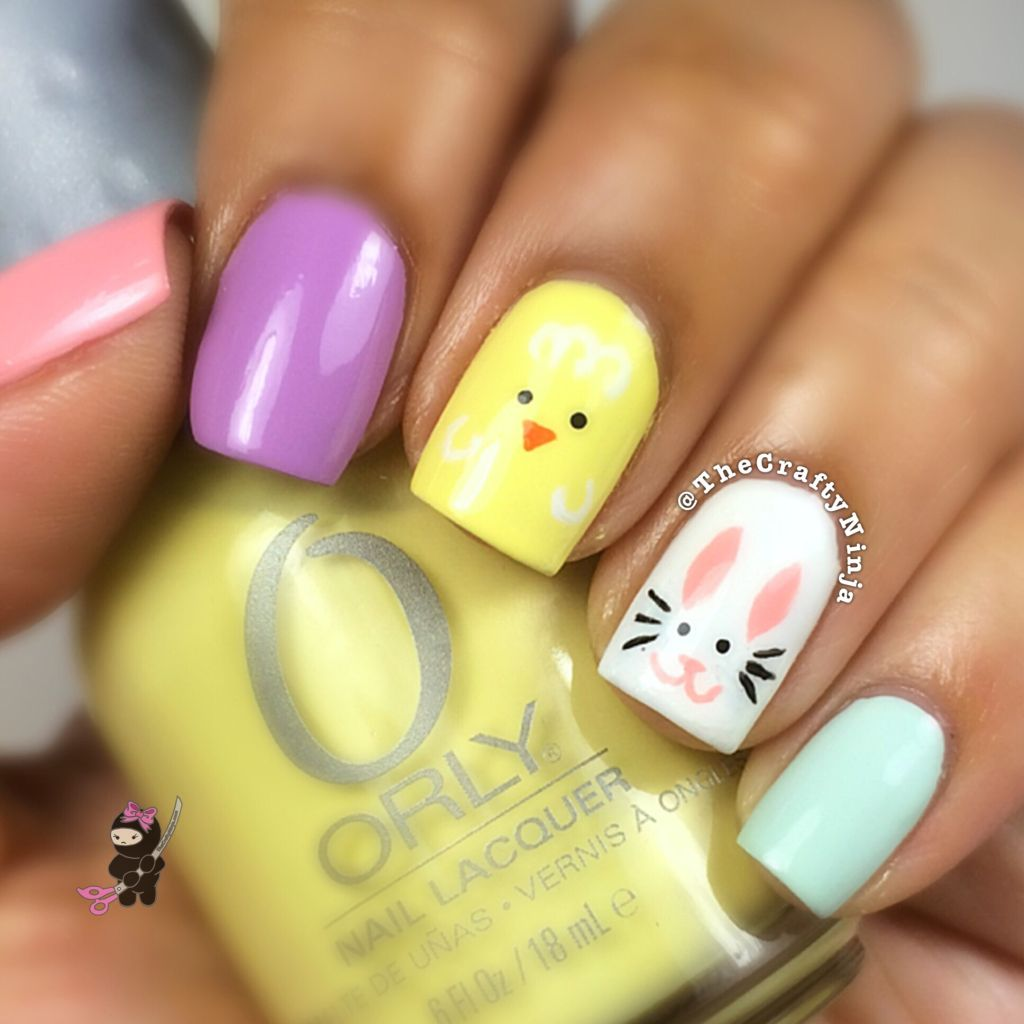 Easter Bunny Chick Nails | The Crafty Ninja