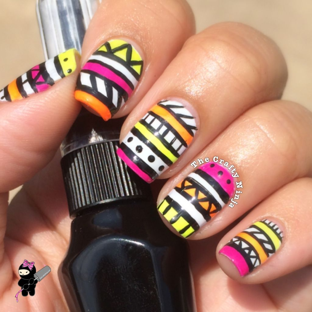Neon Tribal Nail Art | The Crafty Ninja