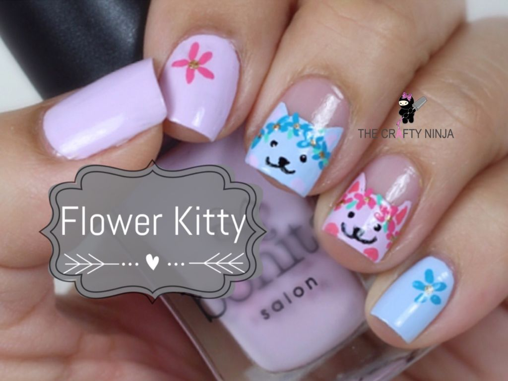 Flower Kitty Nails | The Crafty Ninja